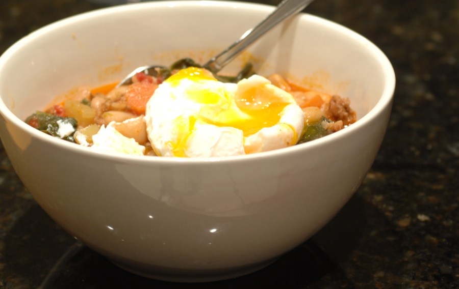 Swiss Chard, White Bean and Chorizo Stew with Poached Egg