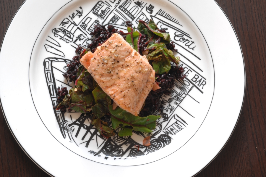 broiled salmon with spicy greens and rice