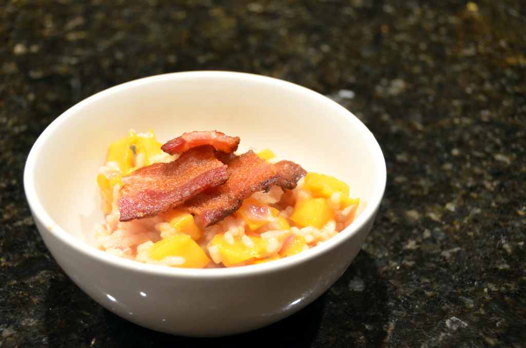 maple-roasted pumpkin and crispy bacon risotto at www.oneishungry.com
