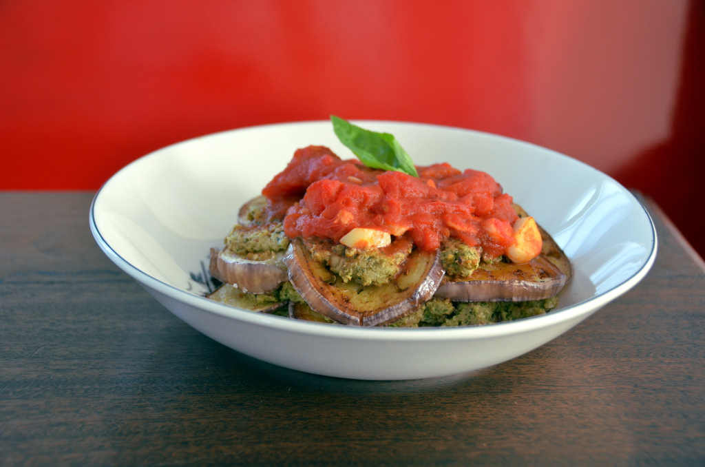 Individual Portobello-Eggplant Lasagnas with Arugula and Goat Cheese Pesto Plated via One is Hungry