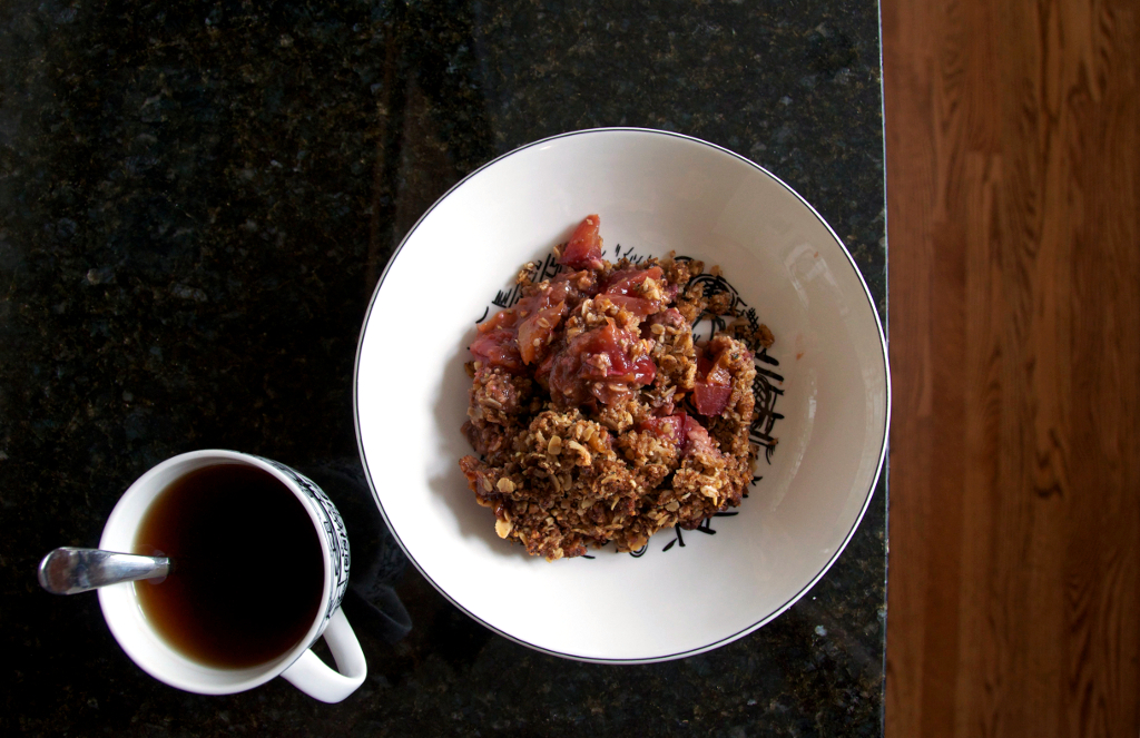stone fruit crumble via One is Hungry