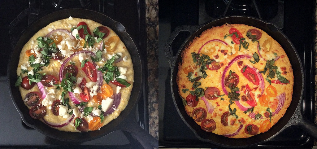 Cornbread before and after