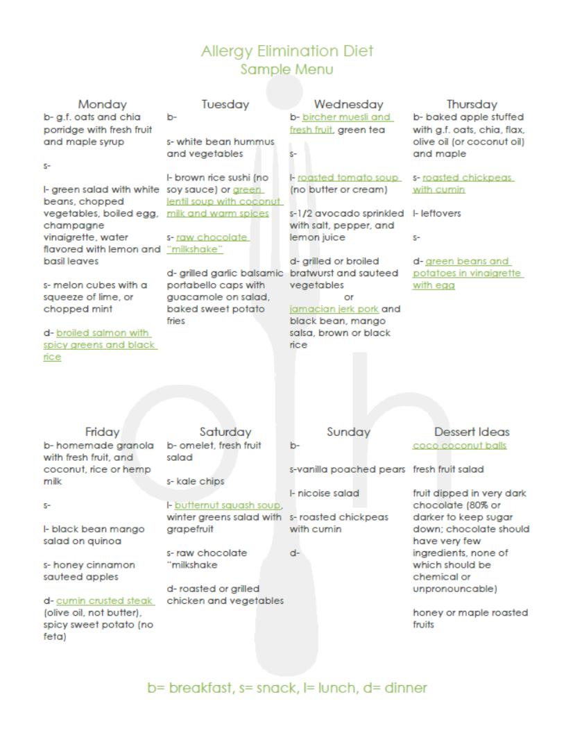 allergy elimination diet menu